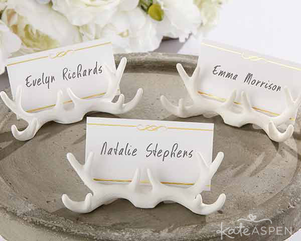 Use antler place card holders to assign sleeping bags at a glamping bachelorette party!