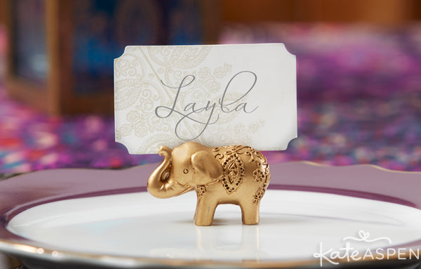 Gold elephant place card holders from Kate Aspen