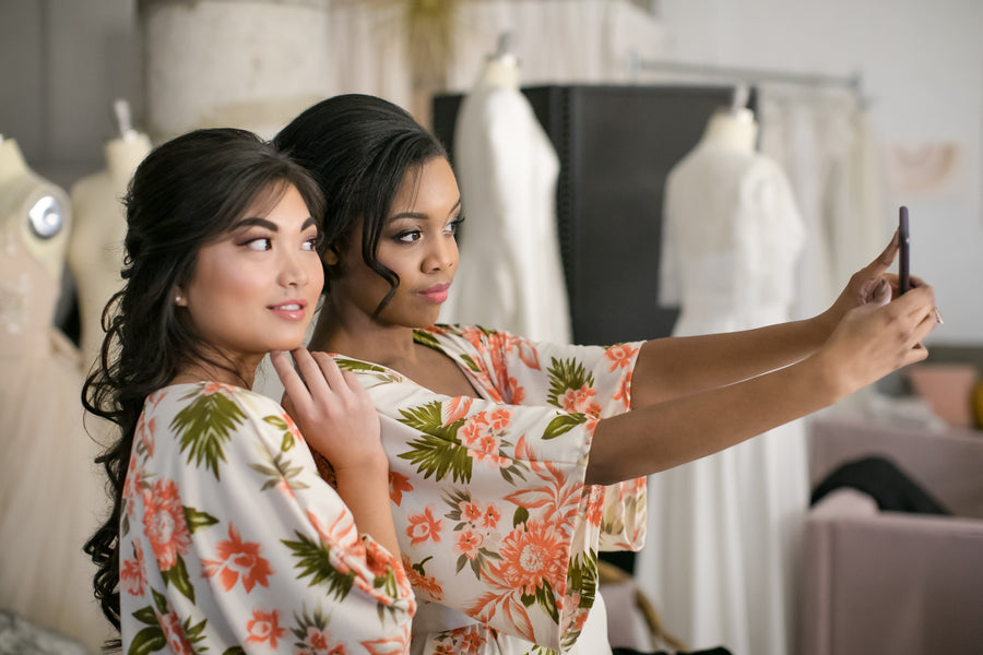 Bridesmaids Taking a Selfie | Fun Tips For Getting Ready On Your Wedding Day | Kate Aspen