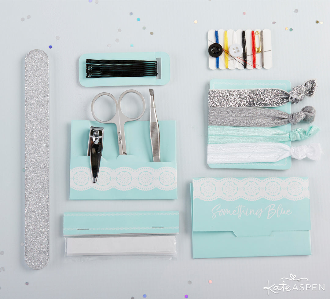 Something Blue Survival Kit Items | Gifts and Decor For a Something Blue Bridal Shower | Kate Aspen