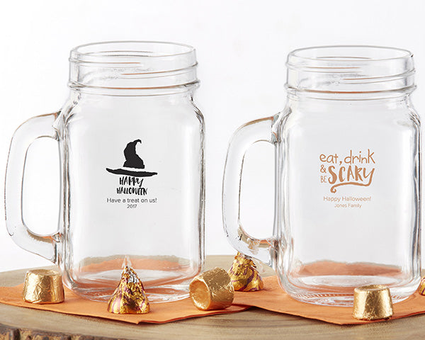 Personalized Mason Jar Mugs | 6 Spooky Halloween Party Essentials | Kate Aspen