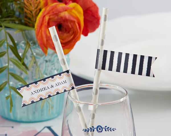 Personalized Botanical Paper Straw Flags - Kate Aspen