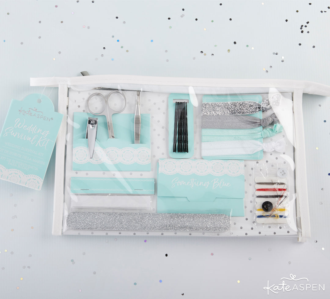 Something Blue Survival Kit In Bag | Gifts and Decor For a Something Blue Bridal Shower | Kate Aspen