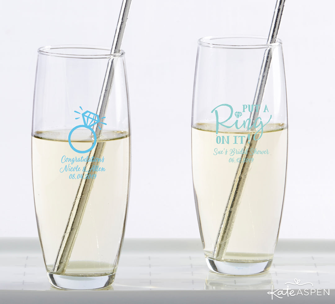 Something Blue Stemless Champagne Glasses | Gifts and Decor For a Something Blue Bridal Shower | Kate Aspen