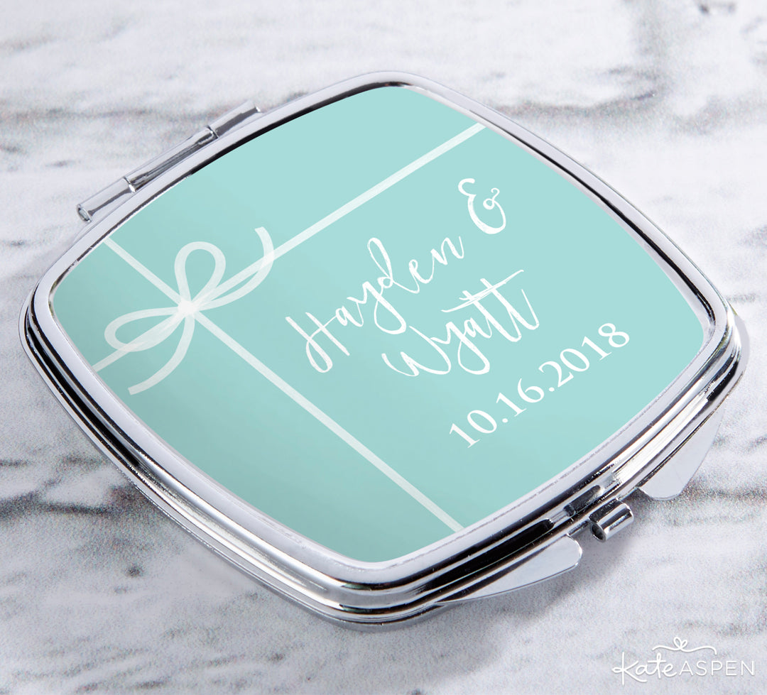 Personalized Something Blue Compact | Gifts and Decor For a Something Blue Bridal Shower | Kate Aspen