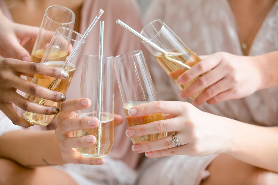 Bridal Party Drinking Champagne | Fun Tips For Getting Ready On Your Wedding Day | Kate Aspen