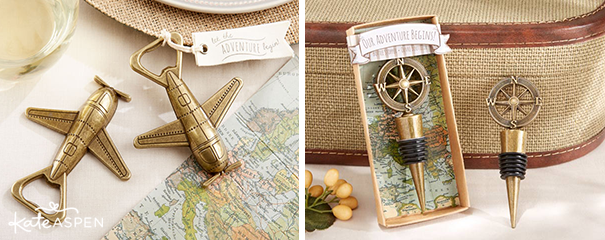 Airplane Bottle Opener and Compass Bottle Stopper - Kate Aspen