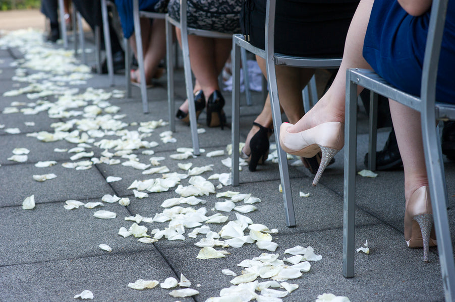 White Rose Petals Lining the Aisle | Candice C Cusic Photography