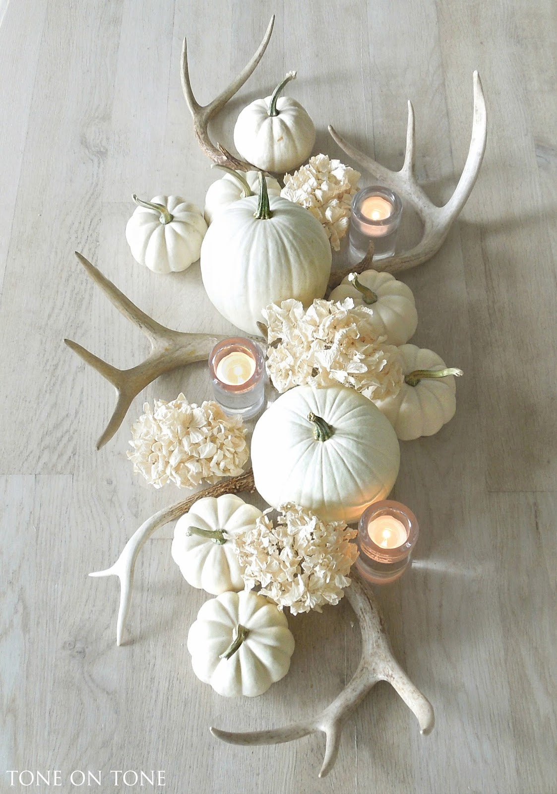 White Antler and Pumpkin Center Piece | Tone On Tone Antiques | 7 Festive Fall Party Ideas | Kate Aspen