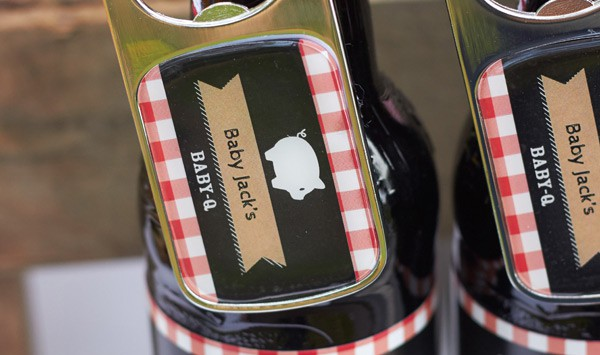 Personalized Baby-Q Bottle openers and bottle labels from Kate Aspen