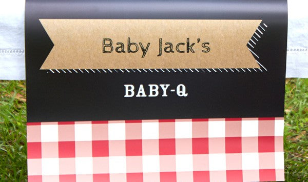 Personalized Baby-Q Table runner from Kate Aspen