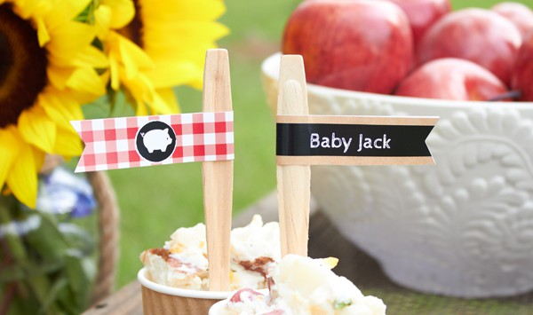 Personalized Party Flags for a Baby-Q  from Kate Aspen