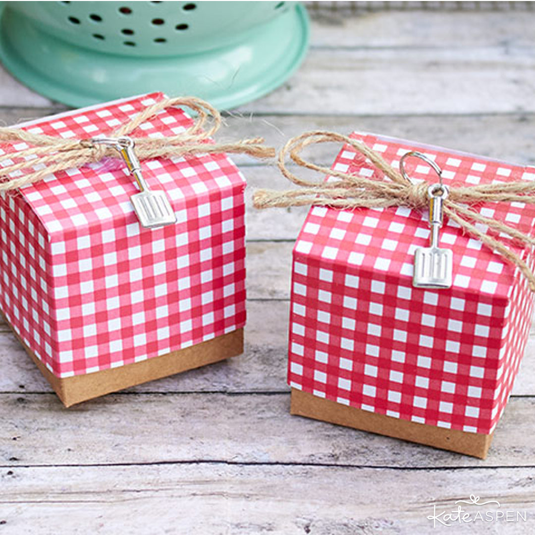 Red Gingham Favor Box with Spatula Charm | Kate Aspen | Baby Shower Bundle Giveaway