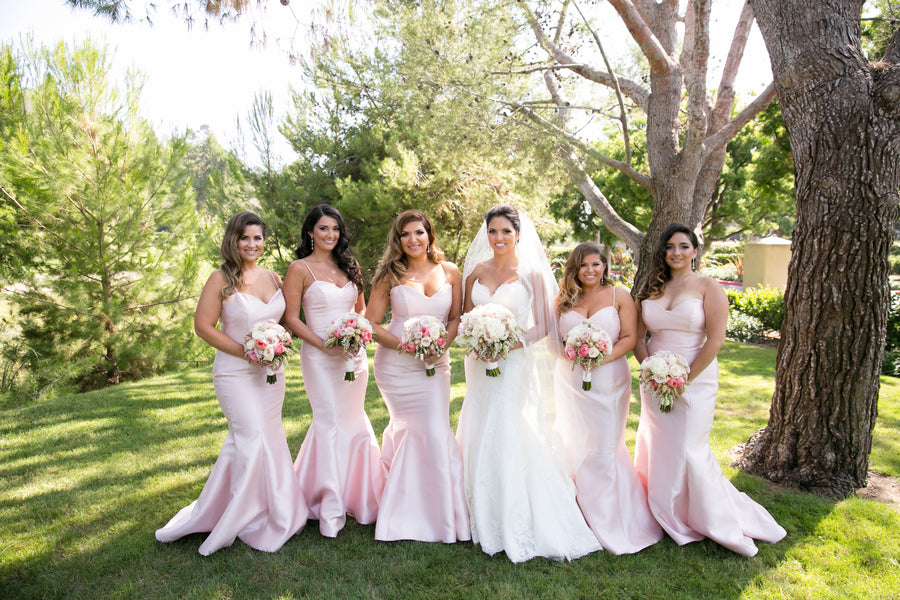 Bride With Bridesmaids | An Elegant Country Club Wedding | Kate Aspen