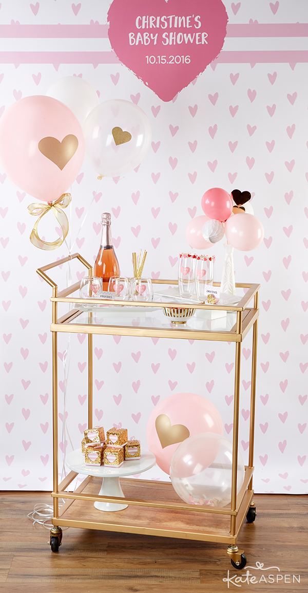 Gold Bar Cart | Baby Love Baby Shower by Kate Aspen | KateAspen.com