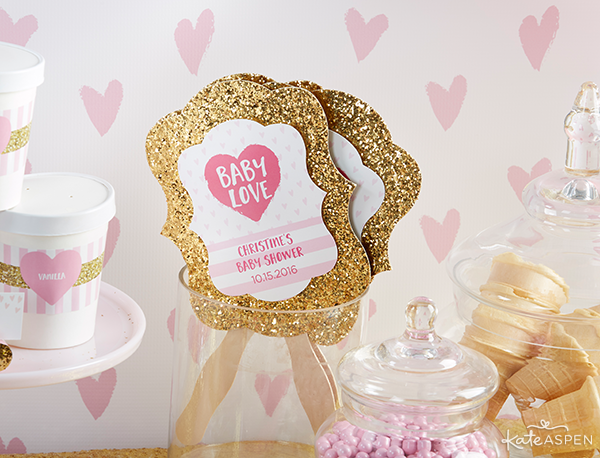 Gold Glitter Fans | Baby Love Baby Shower by Kate Aspen | KateAspen.com