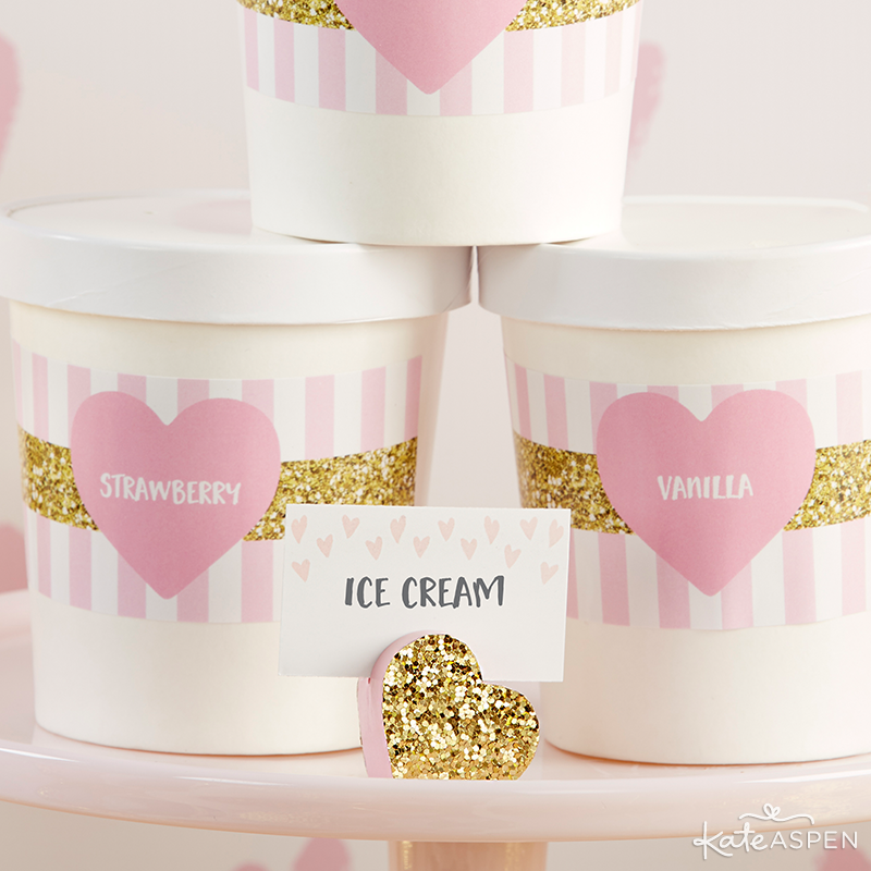 Pints of Ice Cream | Ice Cream Bar | Baby Love Baby Shower by Kate Aspen | KateAspen.com