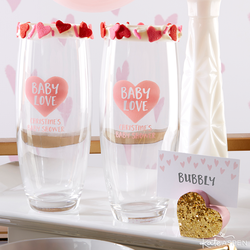 Customized Stemless Champagne Glasses | Baby Love Baby Shower by Kate Aspen | KateAspen.com