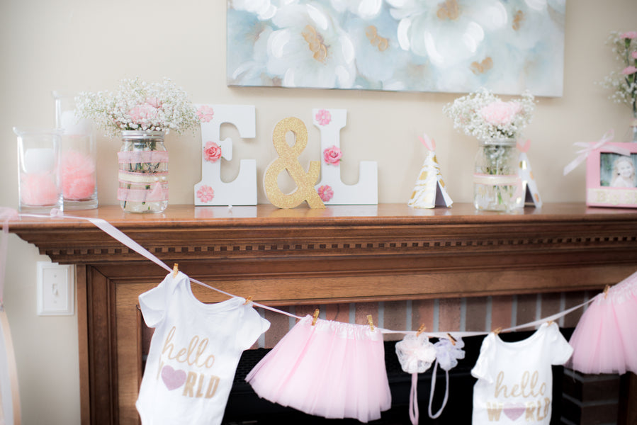 Baby Shower Decorations| A Pink and Gold Baby Shower for Twins | Kate Aspen