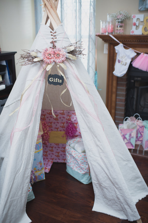 Baby Shower Gifts Tent | A Pink and Gold Baby Shower for Twins | Kate Aspen