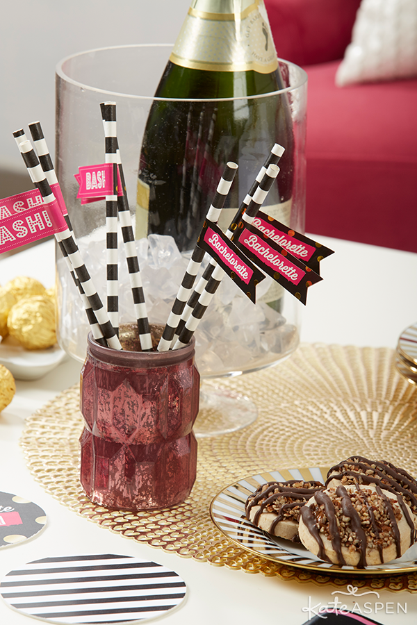Bachelorette Bash Straws and Champagne | Kate Aspen
