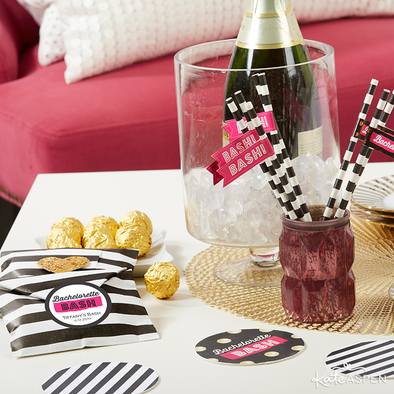 Bachelorette Bash Straws and Paper Favor Bags | Kate Aspen