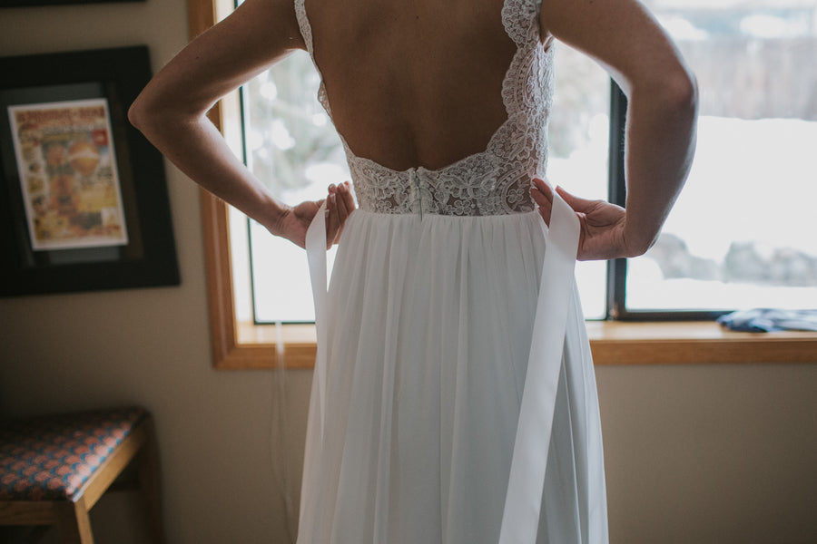 Backless Lace Wedding Dress | A Snowy Outdoor Winter Wedding | Kate Aspen