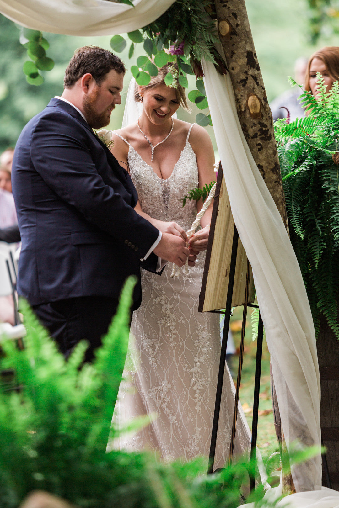Bride and Groom Tying Knot | Elegant Outdoor Fall Wedding | Kate Aspen