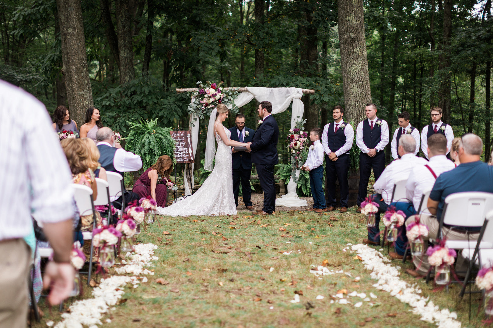 Bride and Groom at Alter | Elegant Outdoor Fall Wedding | Kate Aspen