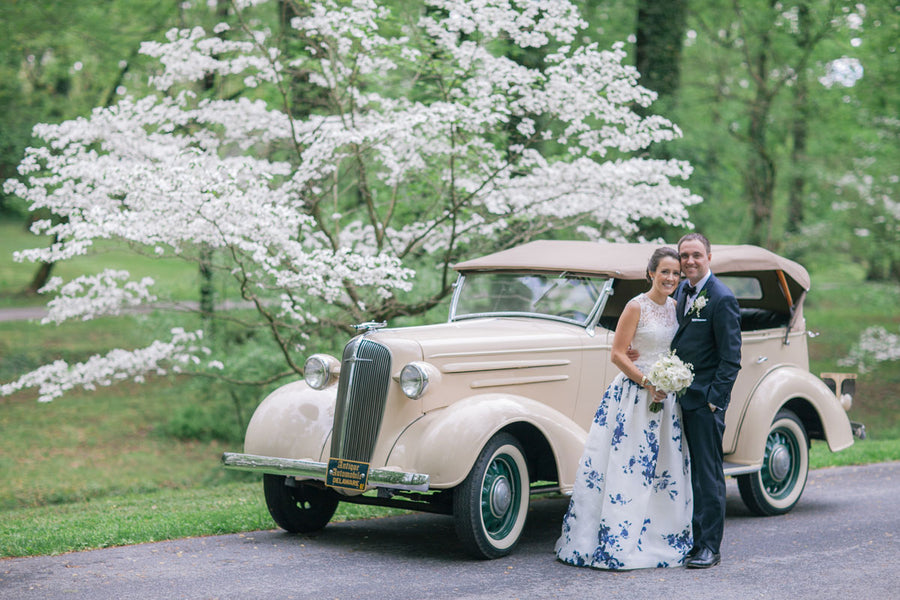 Bride and Groom By Vintage Car | A Spring Wedding in Delaware | Kate Aspen