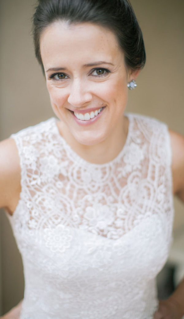 Close Up of Bride's Face | A Spring Wedding in Delaware | Kate Aspen
