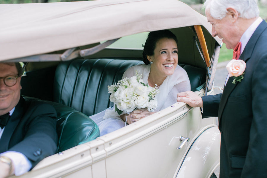 Bride in Vintage Car With Dad | A Spring Wedding in Delaware | Kate Aspen