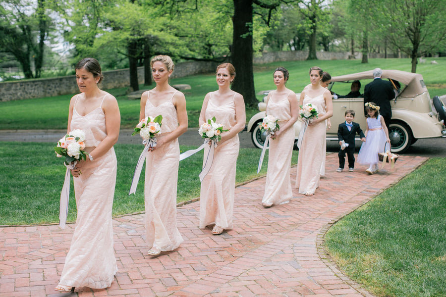 Bridesmaids Walking Down Aisle | A Spring Wedding in Delaware | Kate Aspen