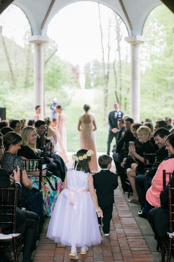 Flower Girl and Ring Bearer Walking Down Aisle | A Spring Wedding in Delaware | Kate Aspen