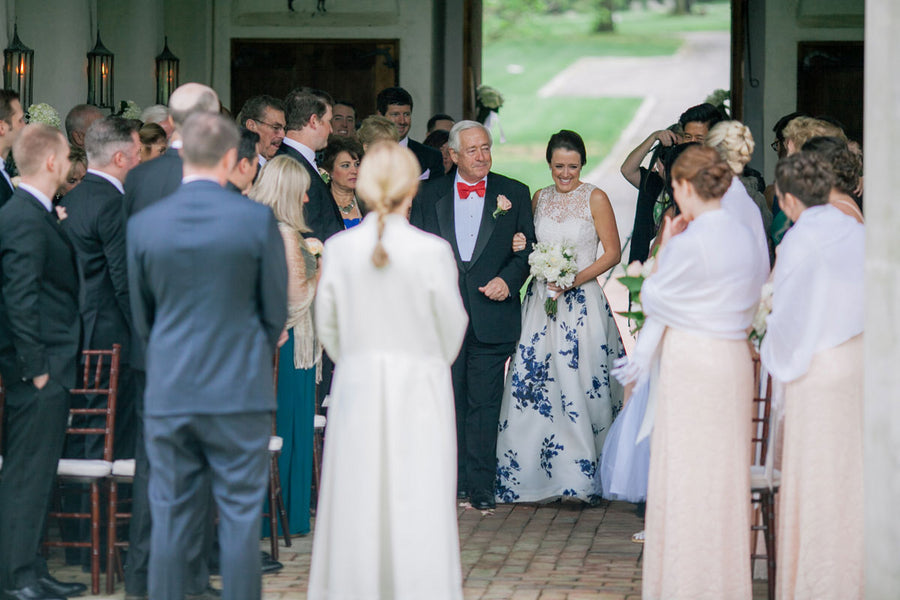 Bride Walking Down Aisle | A Spring Wedding in Delaware | Kate Aspen