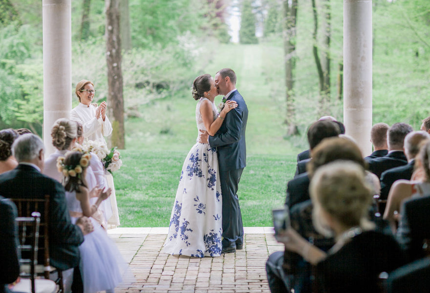 First Kiss | A Spring Wedding in Delaware | Kate Aspen