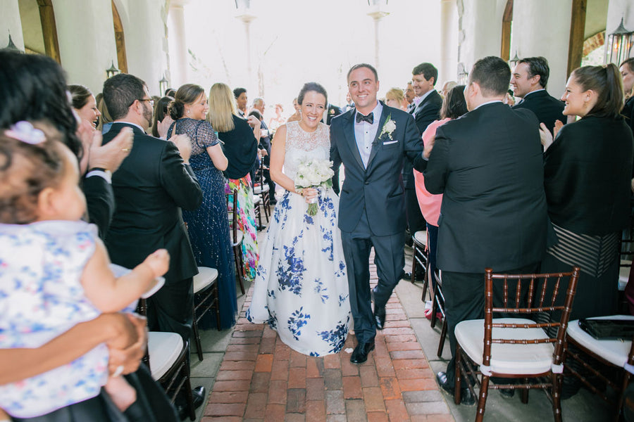 Bride and Groom Walking Down Aisle | A Spring Wedding in Delaware | Kate Aspen