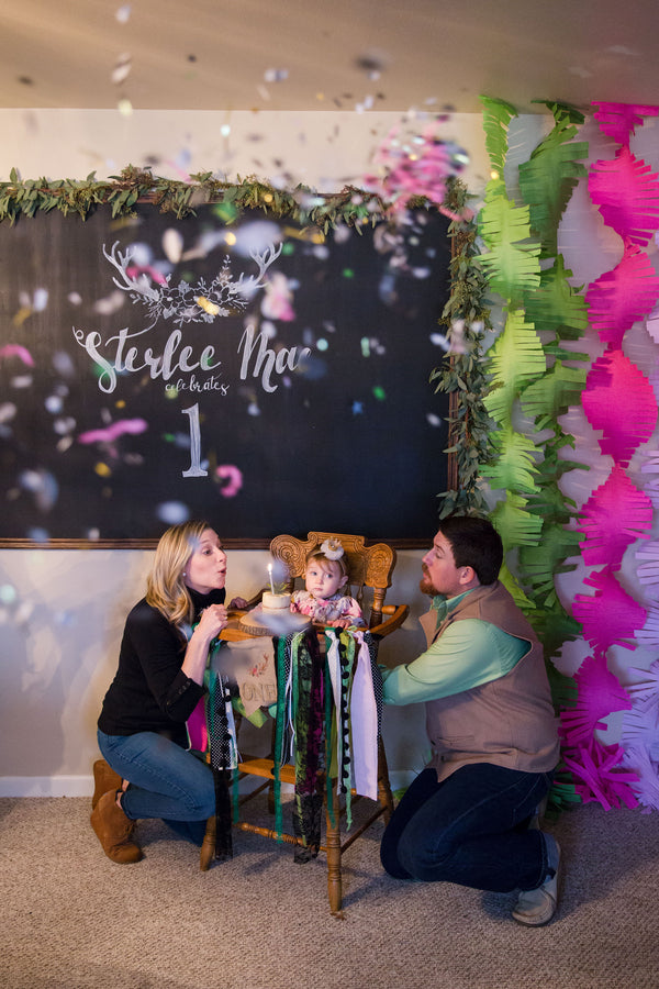 Birthday Girl Blows Out Candle | First Birthday Party | Katie Woody Photography
