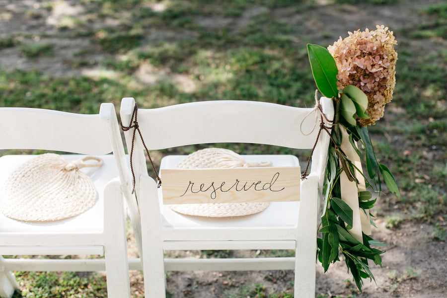 Rustic Reserved Chair Sign | Outdoor Botanical Wedding | Riverland Studios | Kate Aspen