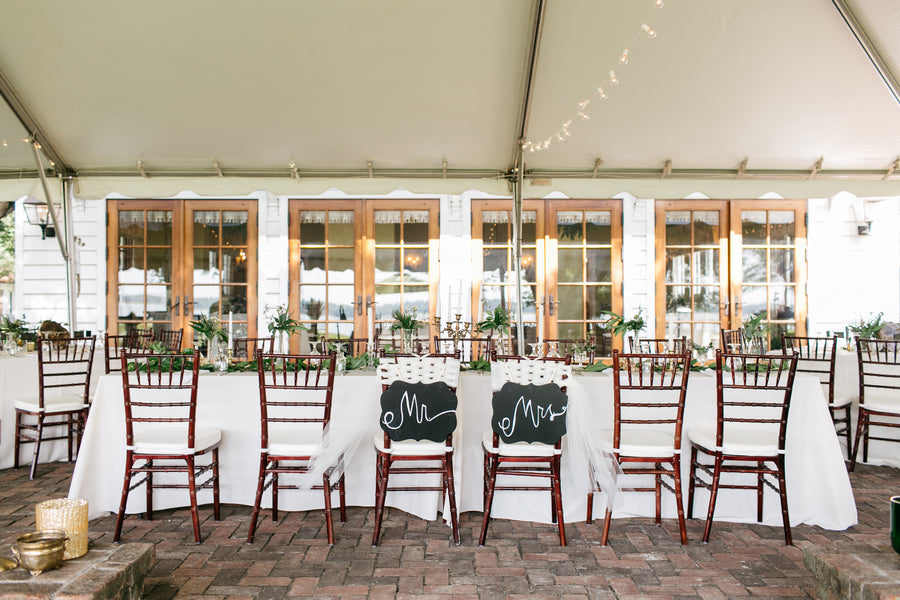 Chalk Mr. and Mrs. Chair Signs | Outdoor Botanical Wedding | Riverland Studios | Kate Aspen
