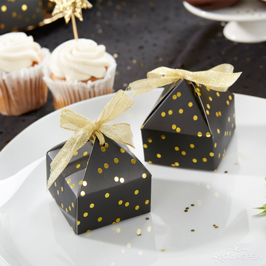 Black With Gold Foil Dot Pyramid Shaped Favor Box | 10 Glittering Party Favors and Decorations For All Occasions | Kate Aspen