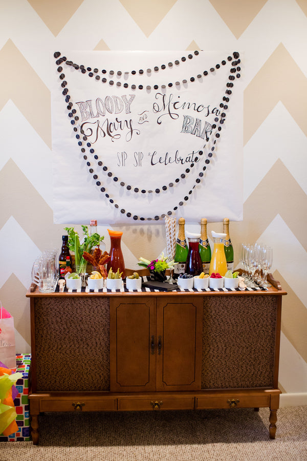 Bloody Mary and Mimosa Bar For Adults | First Birthday Party | Katie Woody Photography