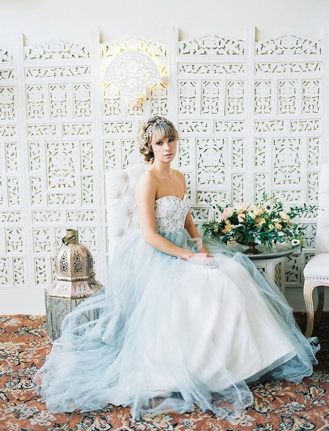 Beautiful Blue Wedding Dress | Olivia Leigh Photography via Green Wedding Shoes