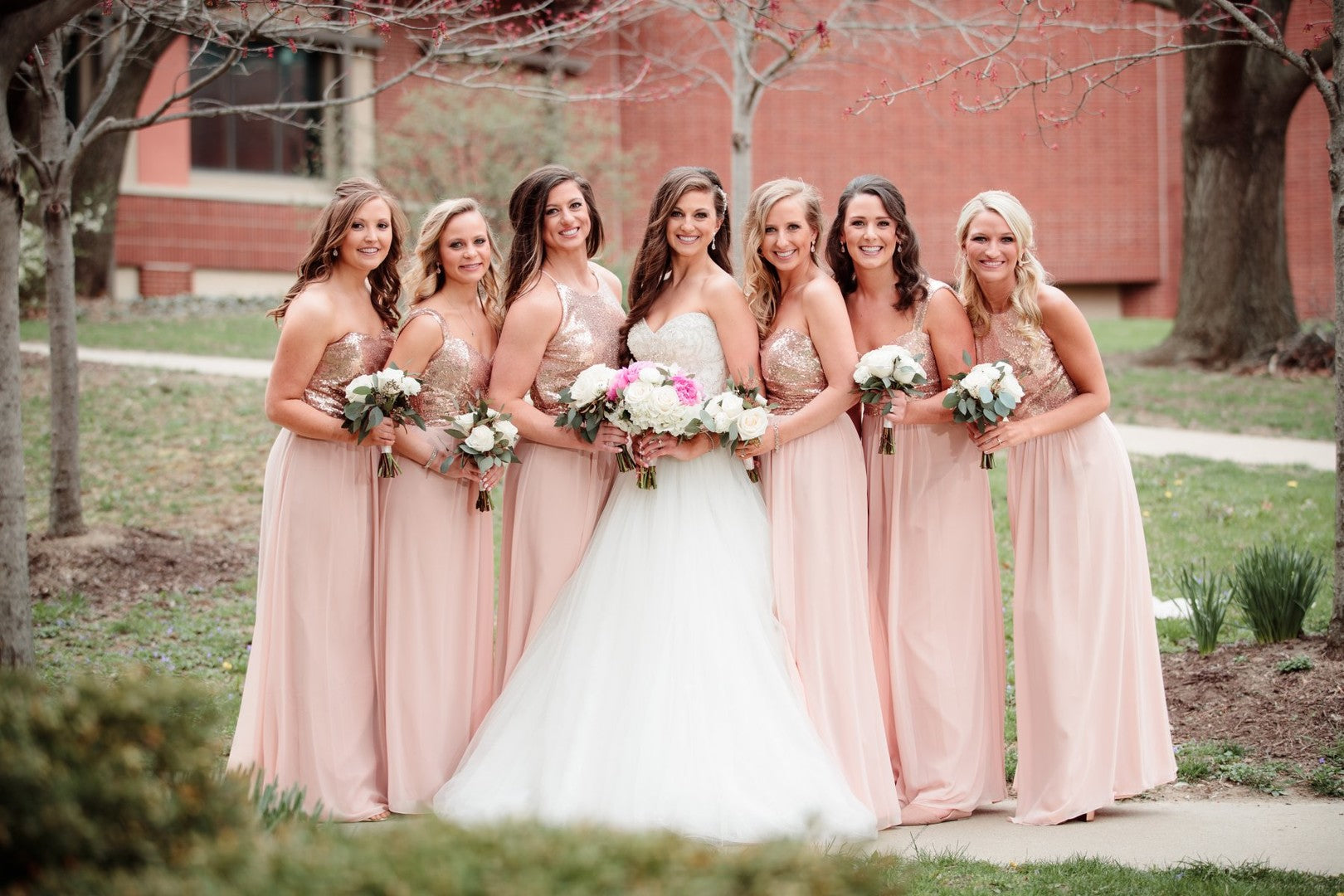 Bride With Bridesmaids | A Gorgeous Grand Wedding in Ohio | Kate Aspen