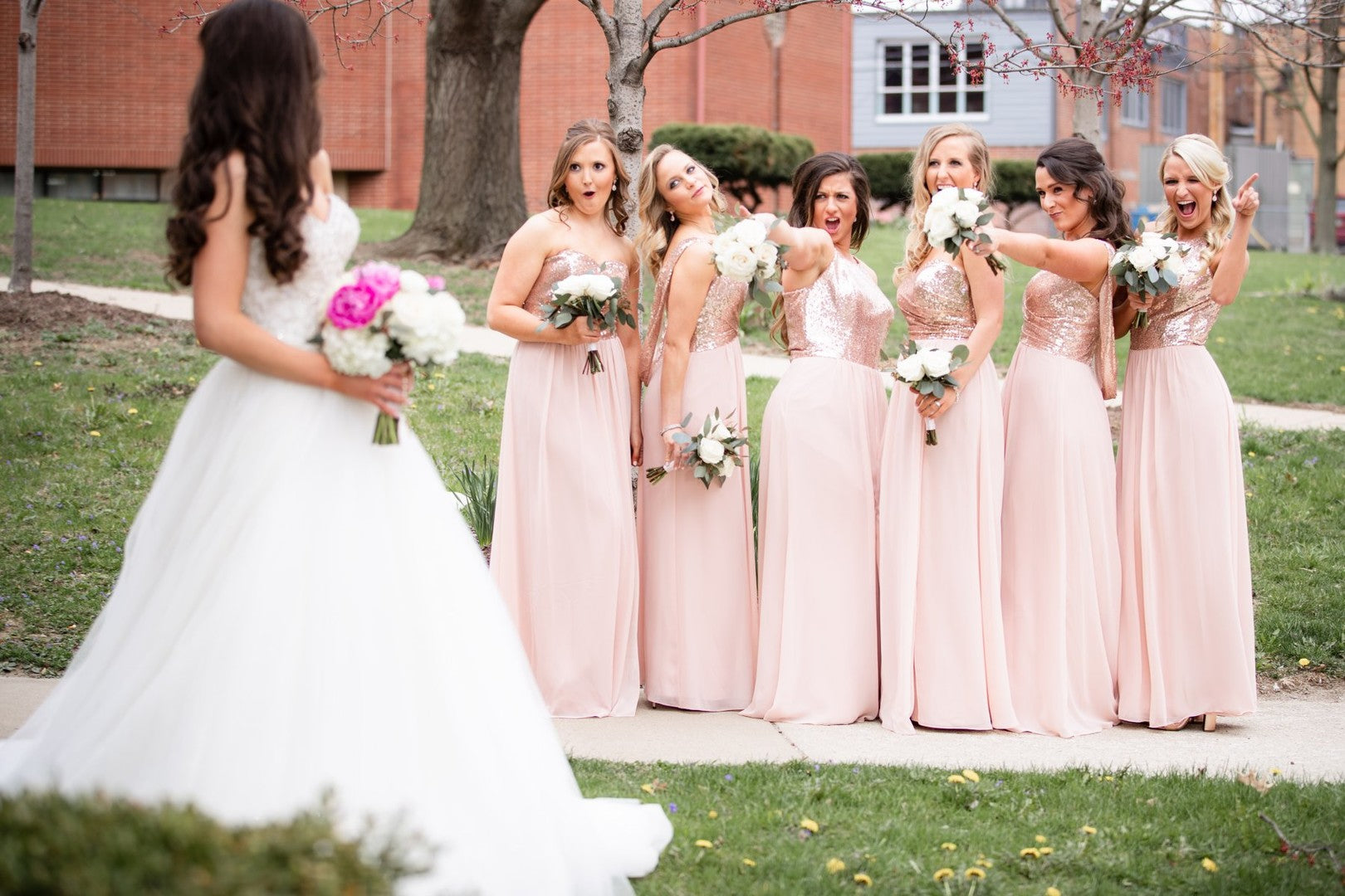 Bridesmaids Cheering On Bride | A Gorgeous Grand Wedding in Ohio | Kate Aspen