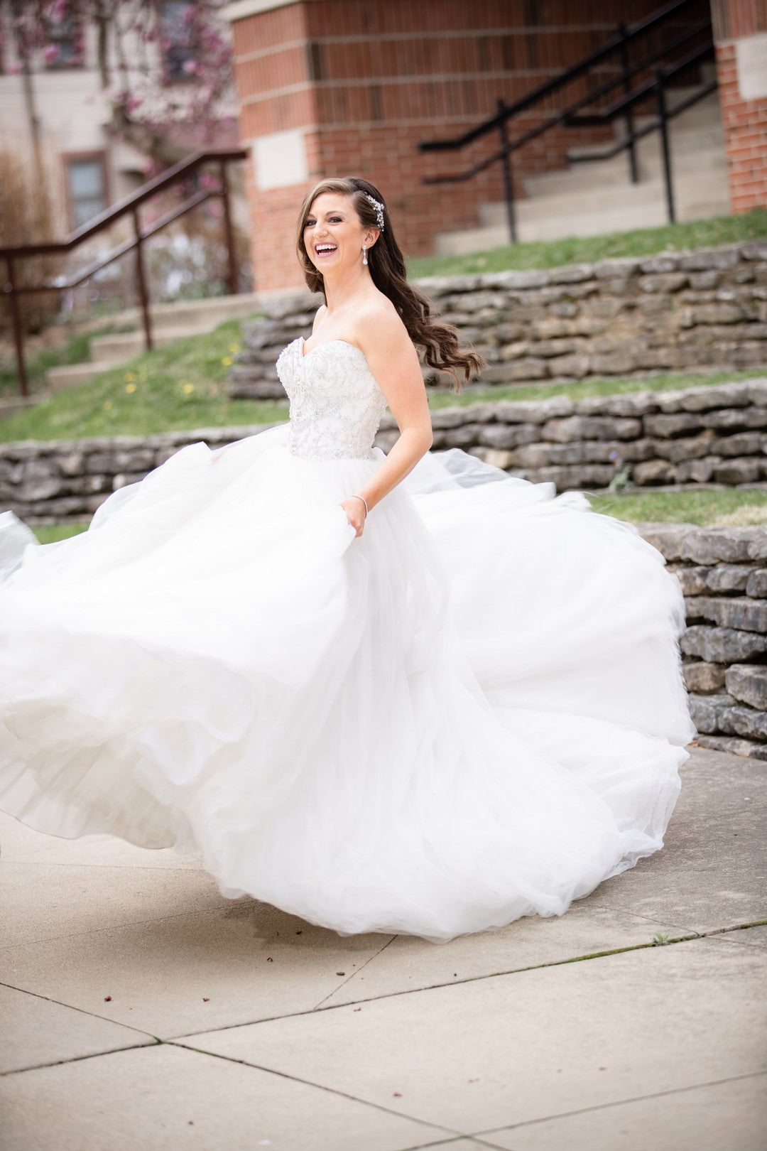 Bride Twirling In Gown | A Gorgeous Grand Wedding in Ohio | Kate Aspen