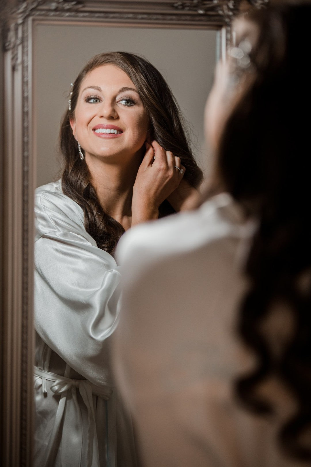 Bride Putting On Jewelry | A Gorgeous Grand Wedding in Ohio | Kate Aspen