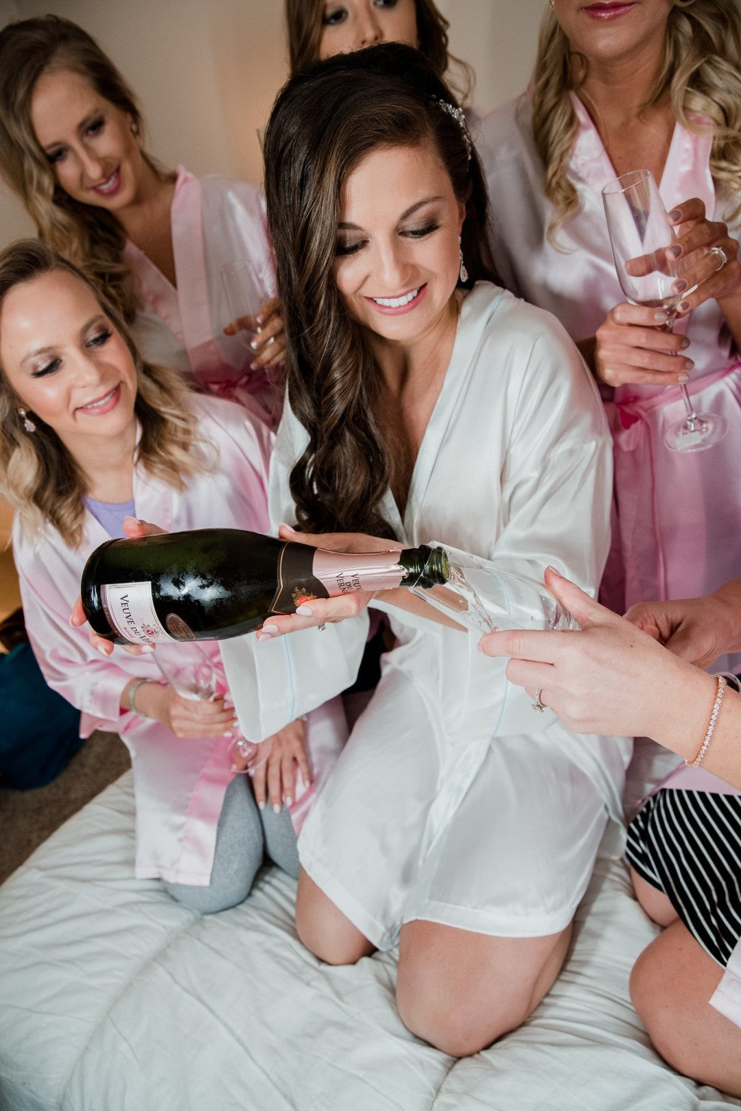 Bride Pouring Champagne | A Gorgeous Grand Wedding in Ohio | Kate Aspen