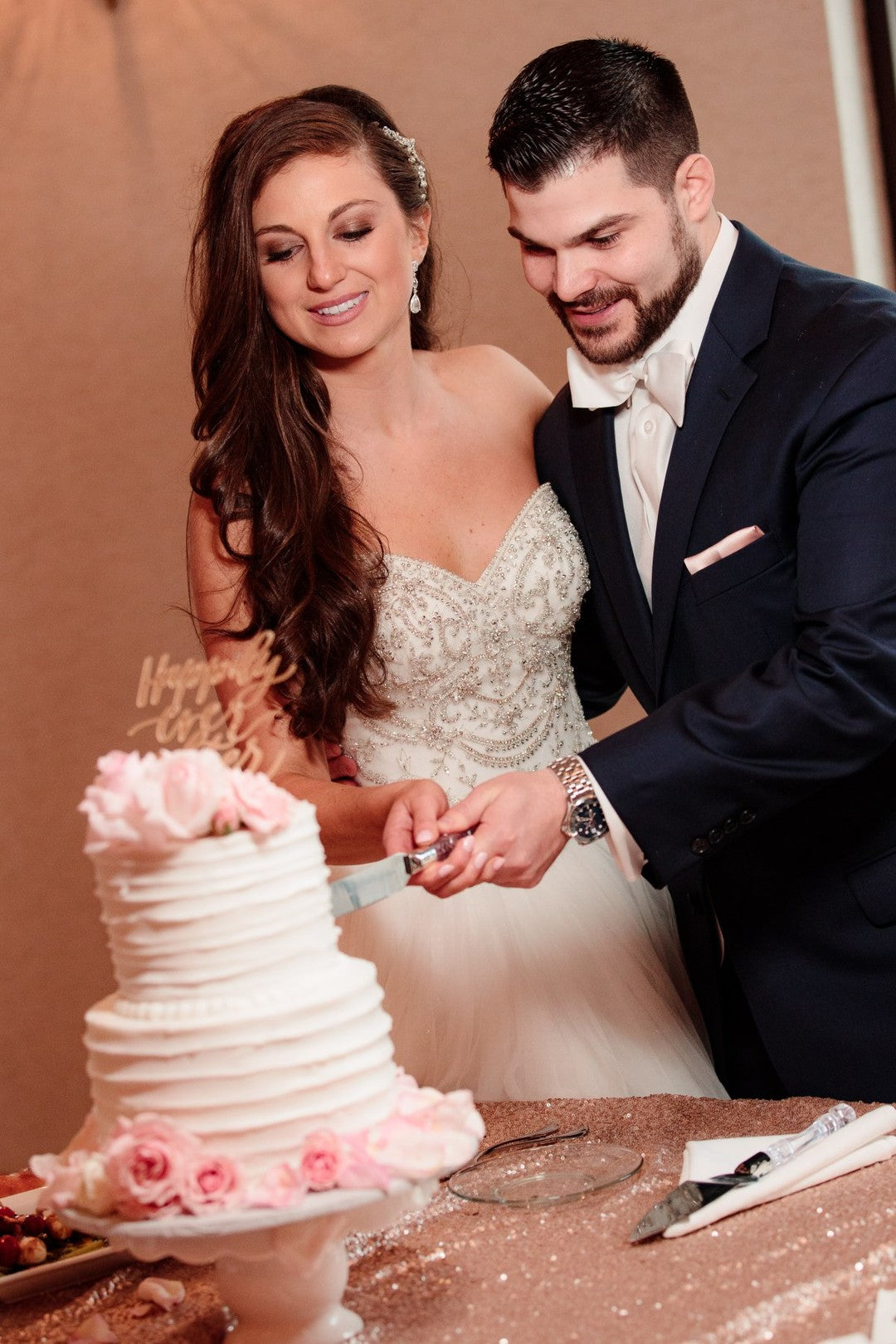 Bride and Groom Cutting Cake | A Gorgeous Grand Wedding in Ohio | Kate Aspen