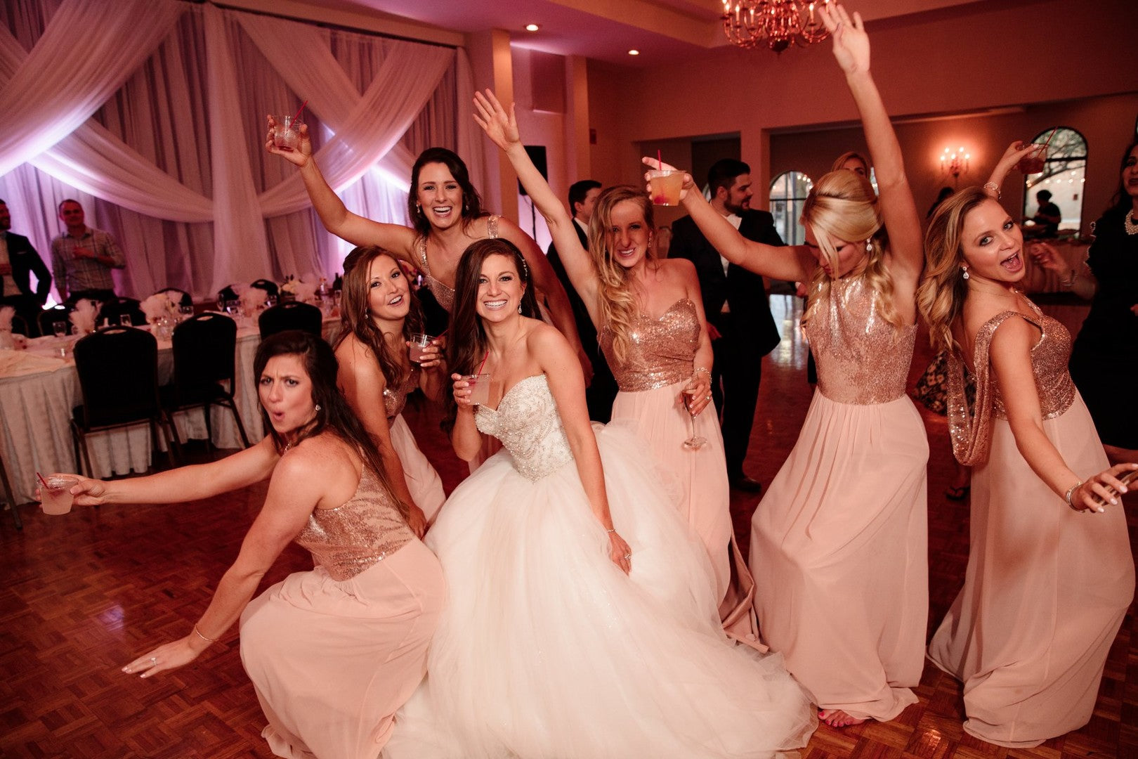 Bride Drinking With Bridesmaids | A Gorgeous Grand Wedding in Ohio | Kate Aspen